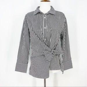 Kensie Black & White Stripe Long Sleeve Shirt
